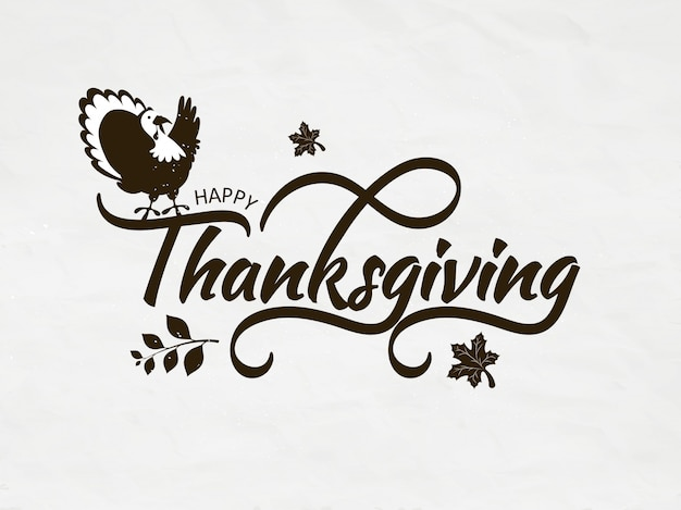 Kalligrafie van happy thanksgiving met turkije vogel en herfstbladeren op witte wenskaart
