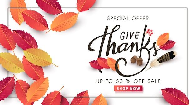 Kalligrafie van thanksgiving day verkoop banner. seizoensgebonden belettering.