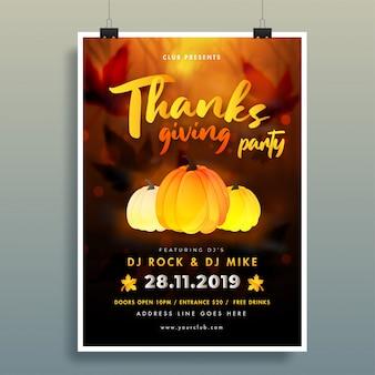 Kalligrafie van thanksgiving-partijaffiche met pompoen en gebeurtenisdetails op bruine de herfstbladeren