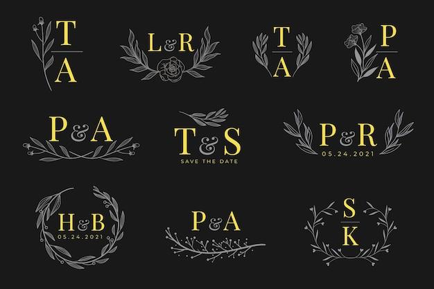 Kalligrafische bruiloft monogram logo's