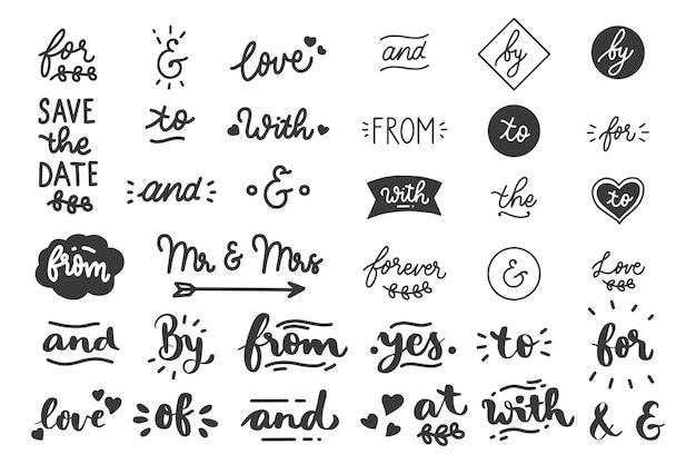 Kalligrafische bruiloft steekwoorden en ampersands