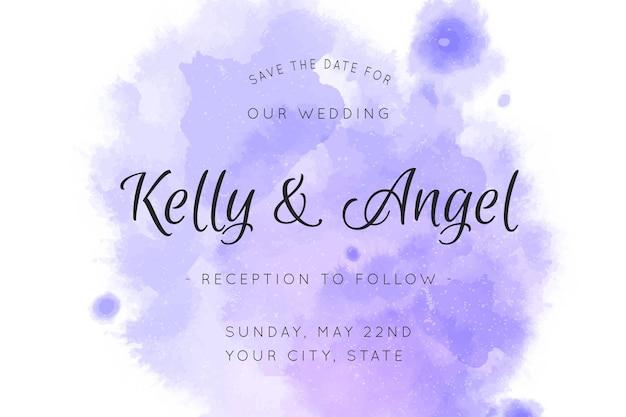 Kalligrafische bruiloft uitnodiging opslaan de datum aquarel