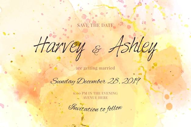 Kalligrafische bruiloft uitnodiging sjabloon met aquarel vlekken