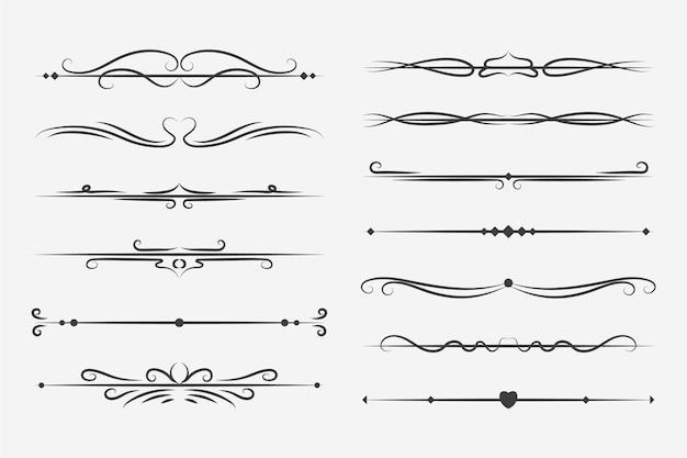 Kalligrafische decoratieve scheidingslijncollectie