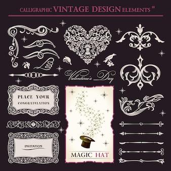 Kalligrafische elementen vintage magische patronen en ornamenten voor boeken