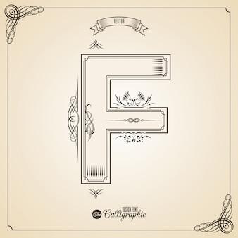 Kalligrafische fotn met rand, frame elementen en uitnodiging ontwerpsymbolen.