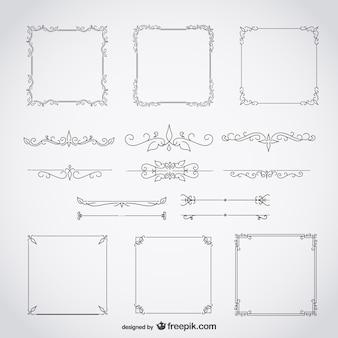 Kalligrafische frames decoratieve bloemen set