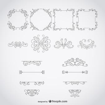 Kalligrafische frames en ornamenten