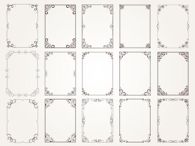 Kalligrafische frames. grenzen hoeken sierlijke kaders voor certificaat bloemen klassieke collectie