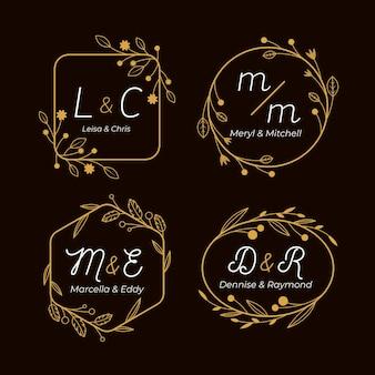 Kalligrafische gouden huwelijksmonogrammen