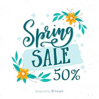 Kalligrafische lente verkoop achtergrond