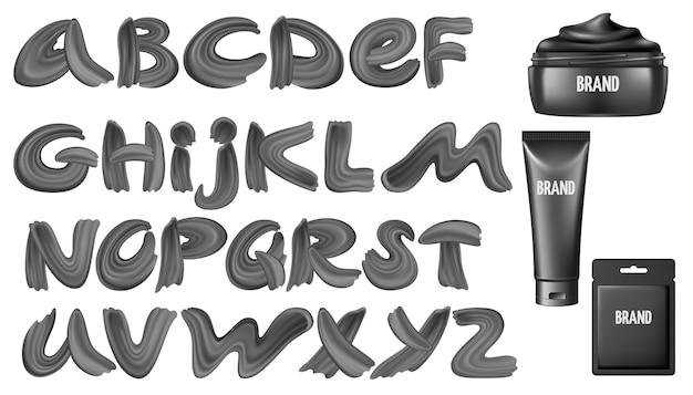 Kalligrafische lettertype in zwarte verf en masker Gratis Vector