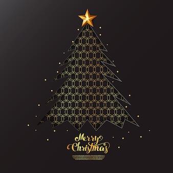 Kalligrafische merry christmas-letters versierd met gouden sterren