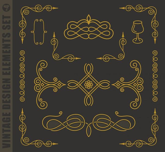 Kalligrafische ontwerpelementen. barokke set