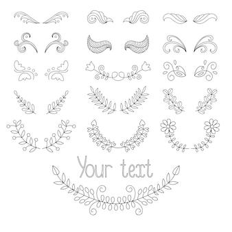 Kalligrafische ontwerpelementen en pagina-decoratie instellen met lauweren, kransen enz.