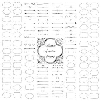 Kalligrafische ontwerpelementen. verdelers, frames met verschillende vormen