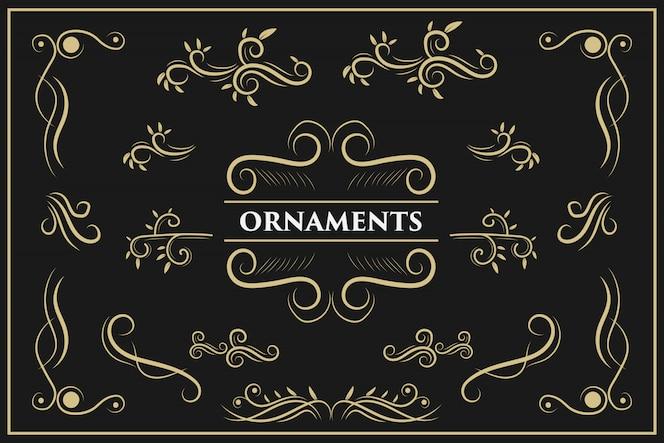 Kalligrafische ontwerpelementen vintage ornament wervelt en scrollt sierlijke decoraties ontwerpelementen