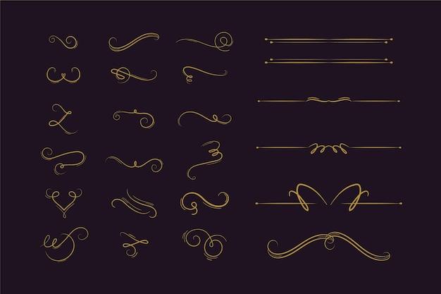 Kalligrafische ornamentcollectie Gratis Vector