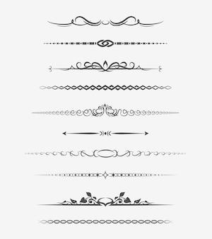 Kalligrafische scheidingslijnen. retro decoratie, boekornament, hoofdstuk en pijl.