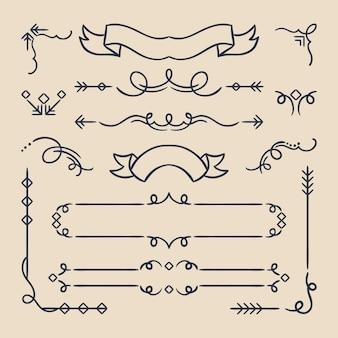 Kalligrafische sierlijsten en elementen