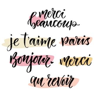 Kalligrafische uitdrukking in het frans. inspirerende belettering set. vector hand belettering