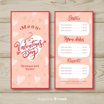 Kalligrafische valentijn menusjabloon