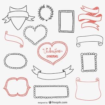 Kalligrafische valentines frames