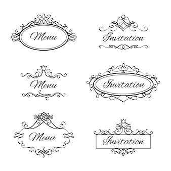 Kalligrafische vignetten voor menu