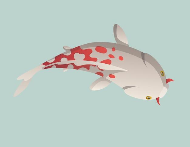 Kalm drijvende vis. de japanse karper van de vissenvissen, kleurrijke oosterse koi in azië. chinese goudvis, traditionele geïsoleerde visserij