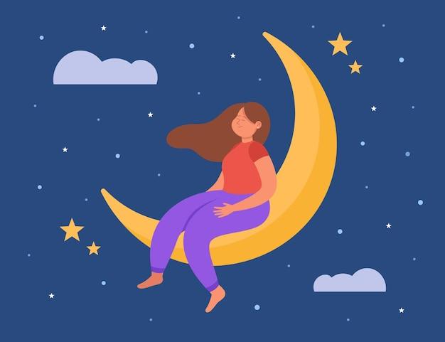 Kalm tekenfilmmeisje droomt terwijl ze op de maan zit