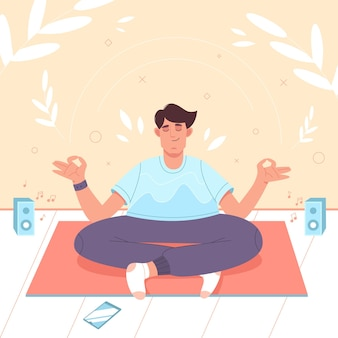 Kalme man met gekruiste benen in lotuspositie doet yoga meditatie mindfulness beoefen spirituele di...
