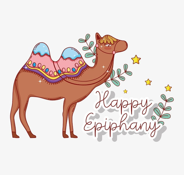 Kameel dier met takken laat epiphany viering