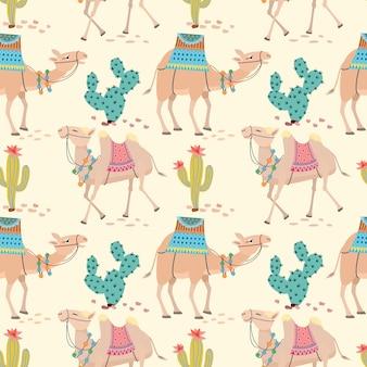 Kameel in de woestijn met cactus naadloze patroon.