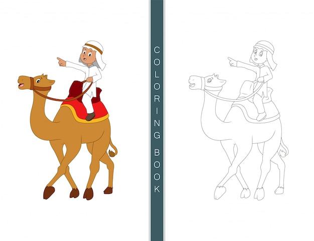 Kameel schattige tekenfilm, kleurboek