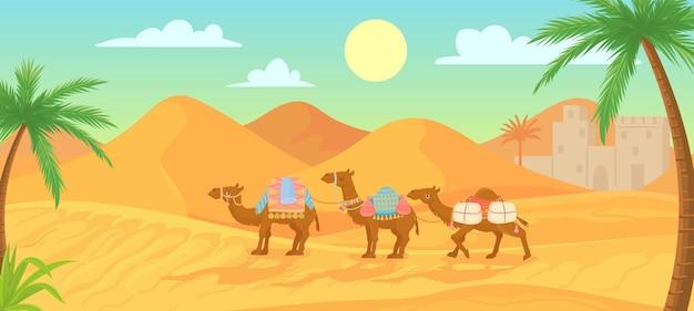 Kameelkaravaan in de saharawoestijn
