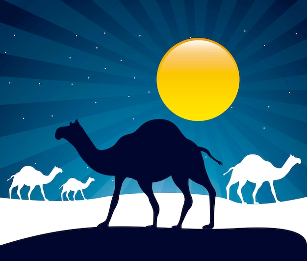 Kamelen over nacht achtergrond vectorillustratie