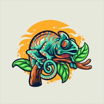 Kameleon cartoon stijl