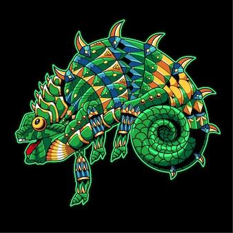 Kameleon getekend in zentangle-stijl