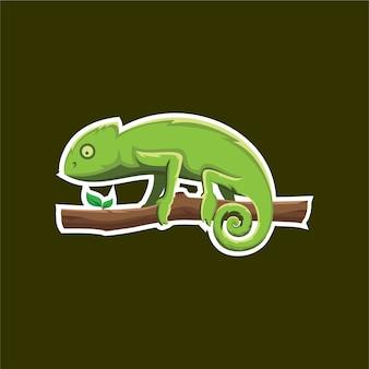Kameleon illustratie logo bagde voor sport esport game team