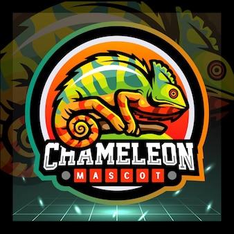 Kameleon mascotte esport logo ontwerp