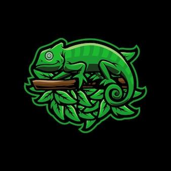 Kameleon mascotte logo ontwerp