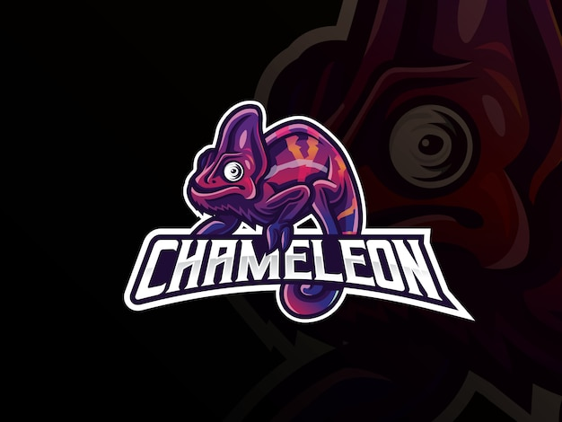 Kameleon mascotte sport logo ontwerp