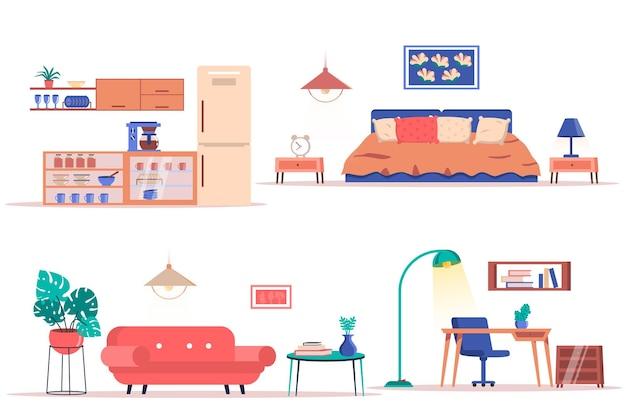 Kamer interieur geïsoleerde elementen set bundel van stijlvolle meubelplanten en decor in de keuken