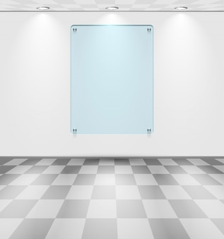 Kamer met glazen tijdelijke aanduiding