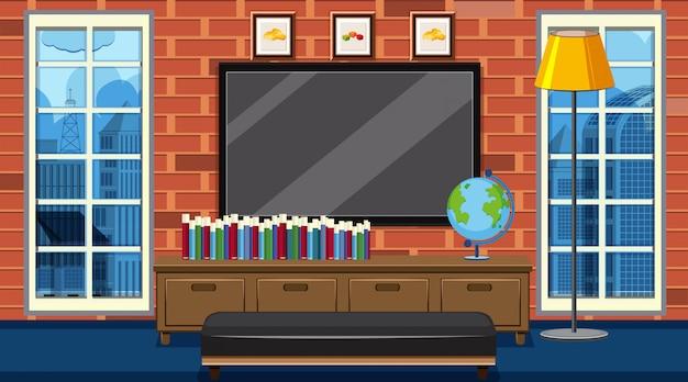 Kamer met groot tv-scherm en boeken