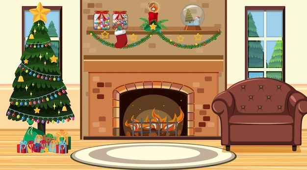 Kamer met kerstboom bij open haard