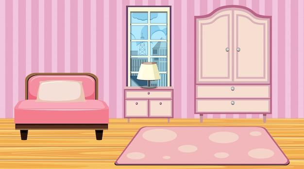 Kamer met roze meubels en behang