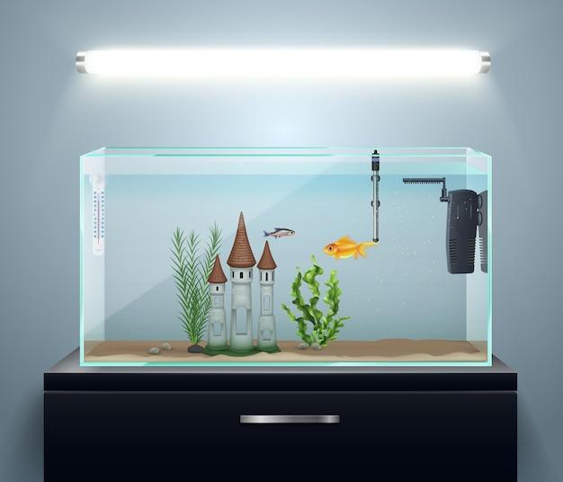 Kamerinterieursamenstelling met realistisch aquarium op ladekast en wandlampillustratie