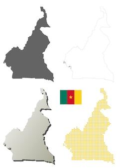 Kameroen vector overzicht kaart set