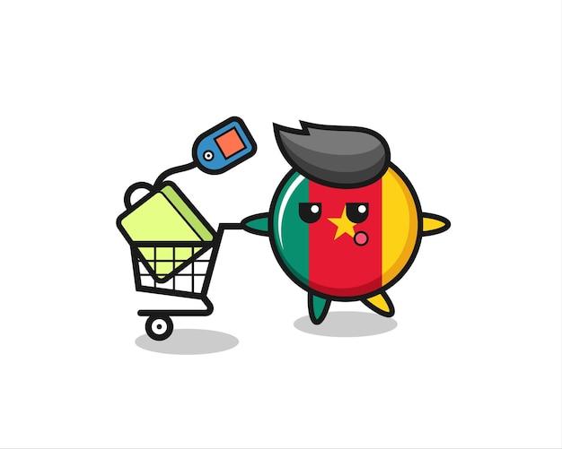 Kameroen vlag badge illustratie cartoon met een winkelwagentje, schattig stijlontwerp voor t-shirt, sticker, logo-element